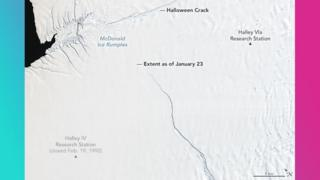 Picture showing the ice shelf at the start of 2019.