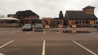 Remains of Sixfields Tavern after a fire