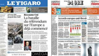 Composite of French and Italian newspapers