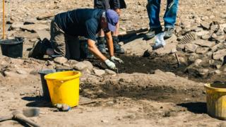 Volunteers working at the excavation site at Binchester Roman Fort