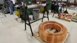 copper wire in a factory