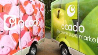 Ocado van featuring Percy Pig livery (left)