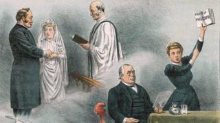 Dibujo de una escena en el juicio