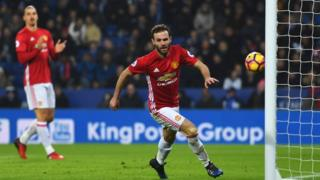 Juan Mata of Manchester United celebrates as he scores their third goal during the Premier League match between Leicester City and Manchester United at The King Power Stadium on 5 February