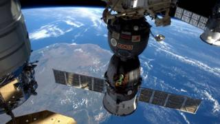 Soyuz attached to International Space Station