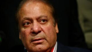 Nawaz Sharif at a news conference in London in 2018