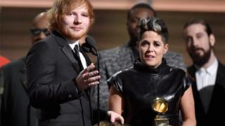 Amy Wadge and Ed Sheeran at the Grammys