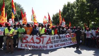 Migrant workers protesting against their working conditions in Foggia, August 2018