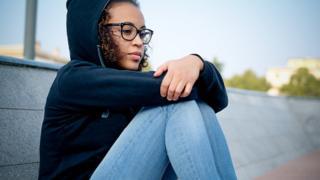 Anxious teenage girl