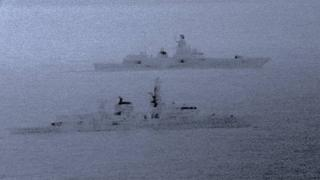 HMS St Albans (foreground) escorts the Admiral Gorshkov through the North Sea in December 2017