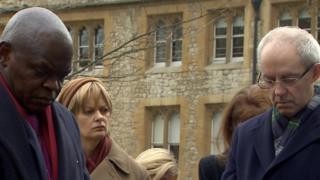 Archbishop of York John Sentamu, sociologist Prof Linda Woodhead and Archbishop of Canterbury Justin Welby