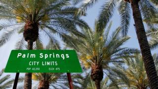 Palm Springs city sign, California
