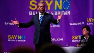 Nigel Farage addresses supporters in Margate during the Say No To The EU tour