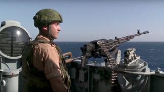 Seaman on the Russian missile cruiser Moskva near the Syrian city of Latakia on 27 November 2015