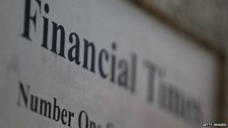 The Financial Times logo sits on display outside the headquarters