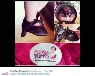 "4f3ed92479 The Pee Wee Pumps website displays a range of designs, labelled ""Swanky"",  ""Wild Child"" and ""Diva""."