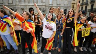 Demonstrators in Barcelona take part in a general strike and a fifth day of protests after the Spanish Supreme Court jailed nine Catalan separatist leaders