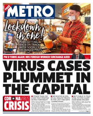 The Metro front page 22/05/20