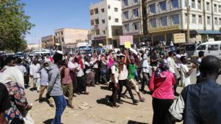 Protesters in Sudan, 20 January 2019