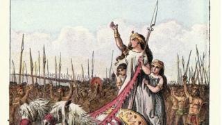 Gravura de Boudicca em sua carruagem liderando seu exército