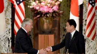美國國務卿蒂勒森和日本外相岸田文雄