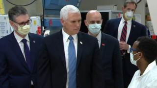 Mr Pence was the only person in the room not wearing a mask, video shows