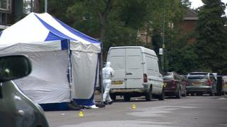 Tent in Great Hampton Row and forensic officer