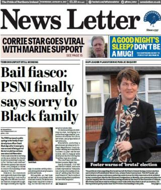 News Letter front page, Wednesday 11 January