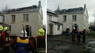 House fire near Coverack, Cornwall