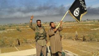Islamic State militants in Falluja (file photo)