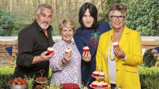 Paul Hollywood, Sandi Toksvig, Noel Fielding, and Prue Leith