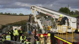 Protestors at fracking site in North Yorkshire