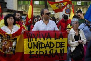 Unjuk rasa mendukung pemerintah Spanyol