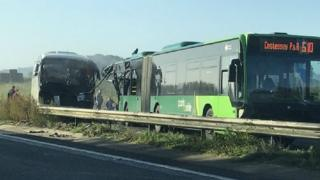 Bus and coach crash on A47