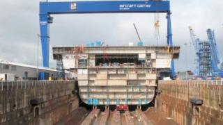 A section of the aircraft carrier HMS Queen Elizabeth at Rosyth shipyard