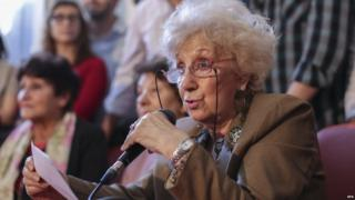 Estela de Carlotto holds a press conference announcing the restitution of the identity of the missing granddaughter number 117, born in 1978, daughter of Walter Dominguez and Gladys Castro, Buenos Aires, Argentina, on 31 August 2015