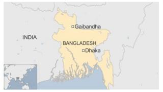 Map of Bangladesh, showing Gaibandha and Dhaka
