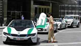 File photo of high-end police cars in Dubai