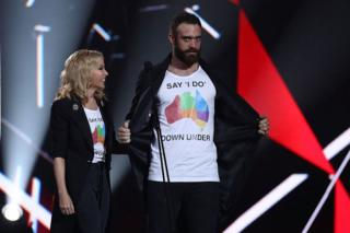 Australian singer Kylie Minogue and English actor Joshua Sasse at the ARIA Awards 2016