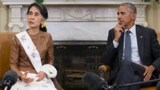 Myanmar's Aung San Suu Kyi and President Barack Obama speak to the press at the White House