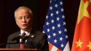 当地时间9月29日晚,中国驻美国大使崔天凯在使馆举行的侨学界国庆招待会