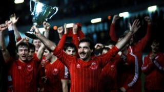 Aberdeen team with Captain Willie Miller