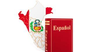 Libro de español y mapa de Perú.
