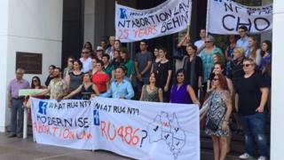 Protesters gather in the Northern Territory to campaign for abortion reform