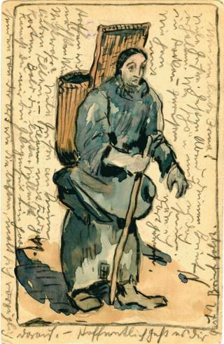 Painted postcard of a figure holding a stick