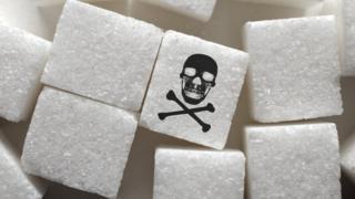 Torrões de açúcar com símbolo de veneno