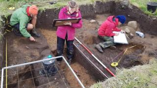 Archaeologists at work on Staffa