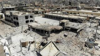 Yılldardır bombardıman altında olan İdlib'in bazı bölgeleri harap olmuş durumda