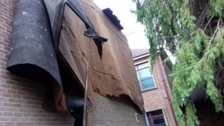 Part of the roof of St Joseph's College was blown off during Storm Ophelia
