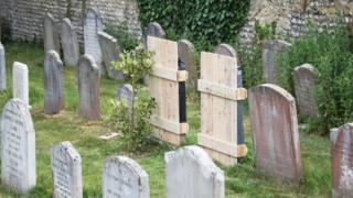 Covered gravestones